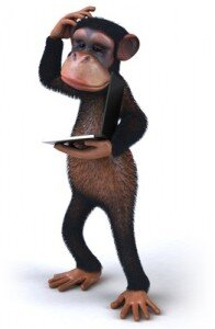 Monkey scratching head with laptop that won't turn on