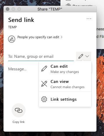 Share an entire folder from OneDrive Desktop - MAC