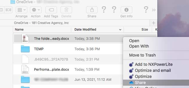 Share a file onedrive on a mac
